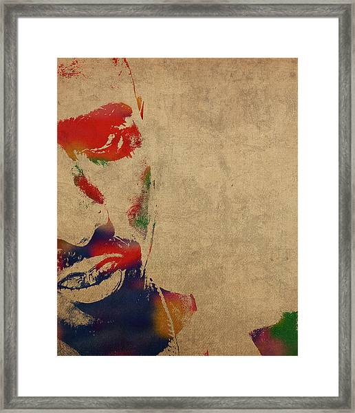 Tupac Shakur Watercolor Portrait Framed Print