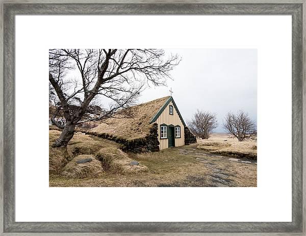 Turf Church At Hof In Iceland Framed Print