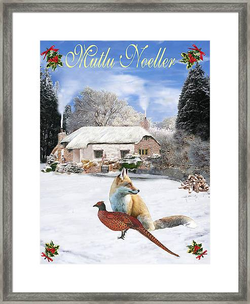 Framed Print featuring the mixed media Turkish  Winter Garden Fox And Pheasant by Eric Kempson