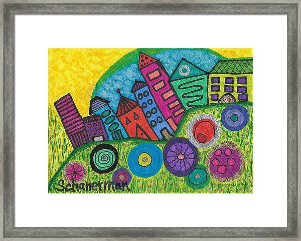Turning Funky City On Its Ear Framed Print