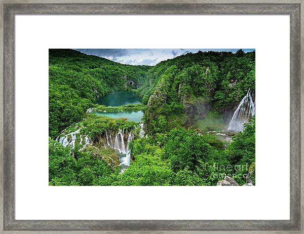 Turquoise Lakes And Waterfalls - A Dramatic View, Plitivice Lakes National Park Croatia Framed Print