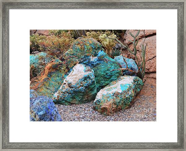 Turquoise Rocks Framed Print
