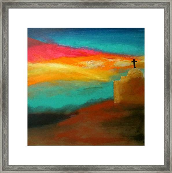 Turquoise Trail Sunset Framed Print