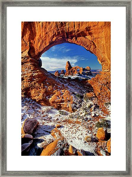 Turret Arch Through North Window Arches National Park Utah Framed Print