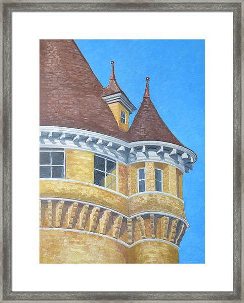 Framed Print featuring the drawing Turrets Of Lawson Tower by Dominic White