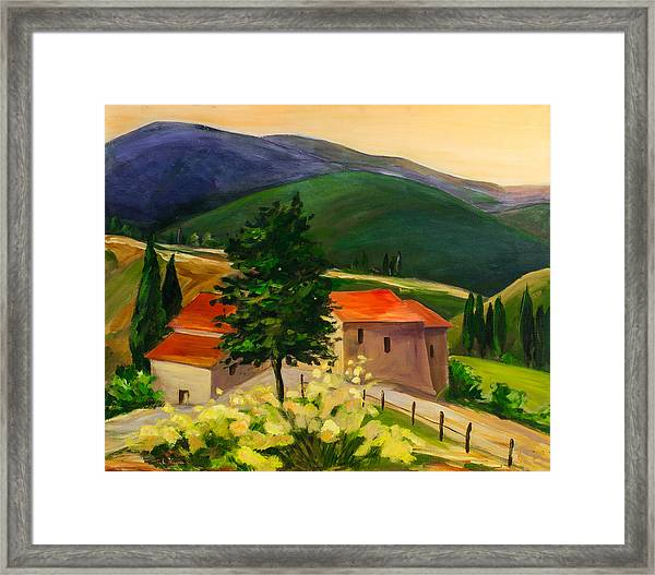 Framed Print featuring the painting Tuscan Hills by Elise Palmigiani