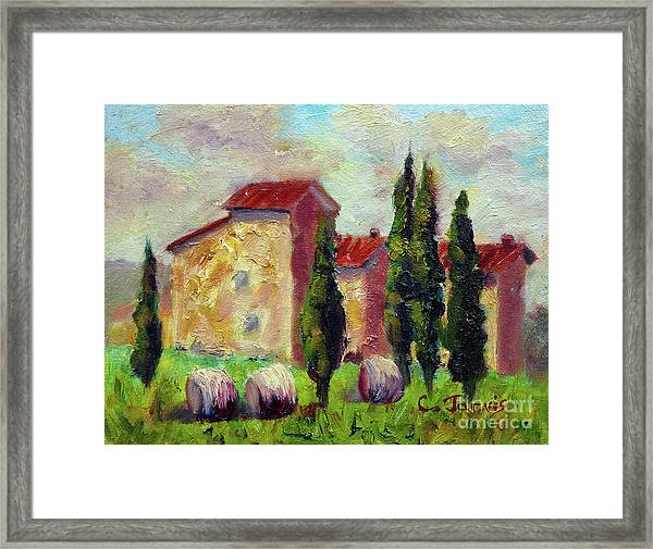 Tuscan House With Hay Framed Print