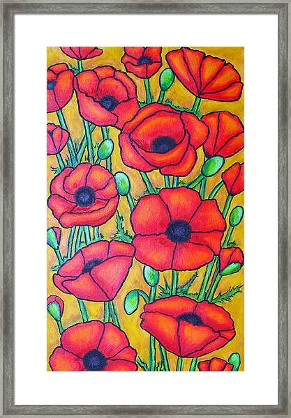 Tuscan Poppies - Crop 1 Framed Print