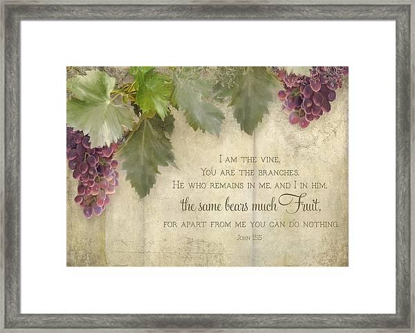 Tuscan Vineyard - Rustic Wood Fence Scripture Framed Print