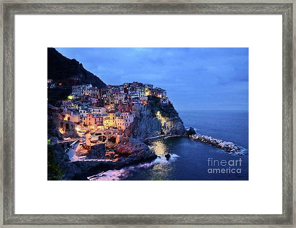Tuscany Like Amalfi Cinque Terre Evening Lights Framed Print