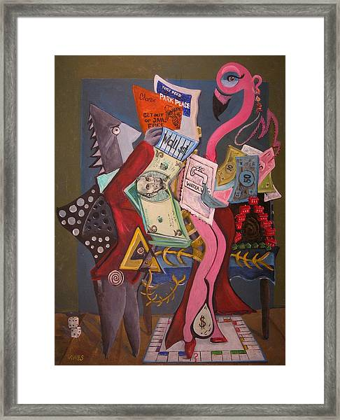 Twas The Loopholes Paper Sharks And Flamingo Dancer That Killed The Fish Framed Print