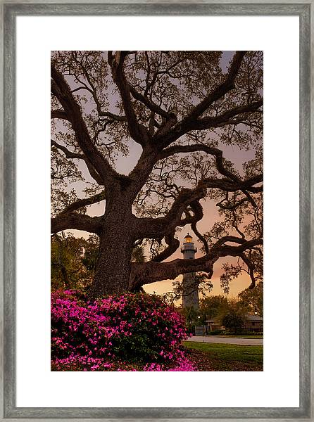 Twilight At St. Simons Lighthouse Framed Print