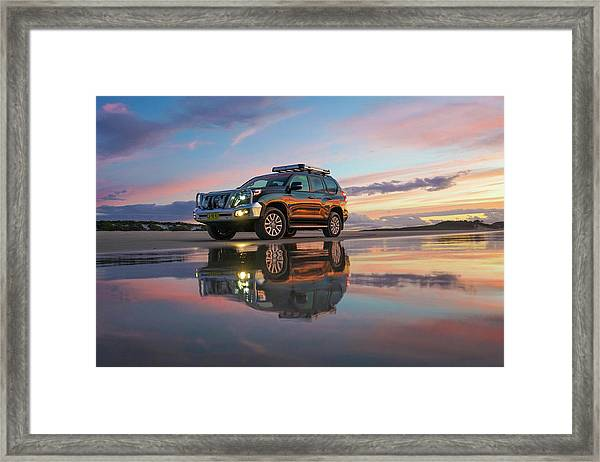 Twilight Beach Reflections And 4wd Car Framed Print