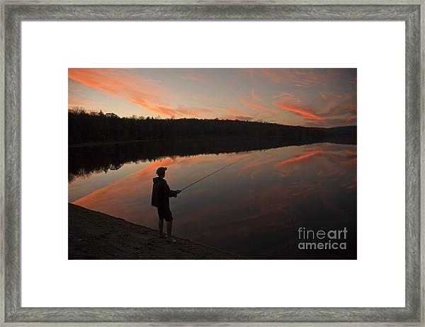 Twilight Fishing Delight Framed Print