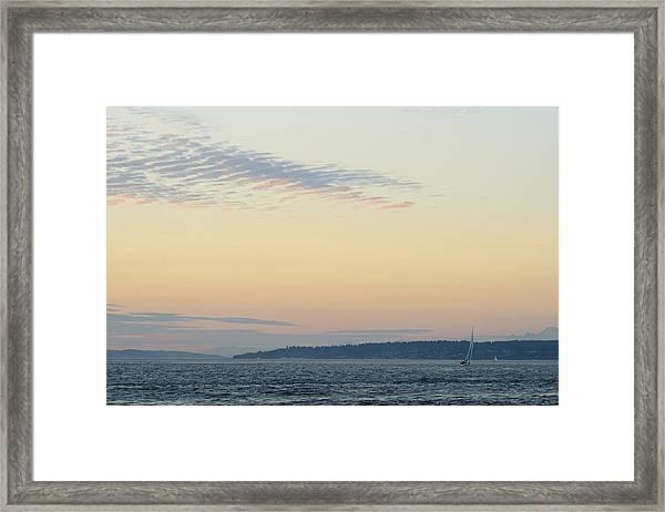Twilight Moment In Puget Sound Framed Print