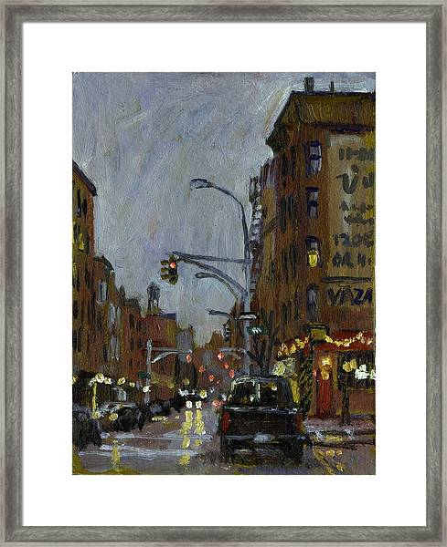Twilight On 7th And Avenue B Vazac Bar Nyc Framed Print