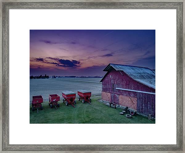 Twilight On The Farm Framed Print