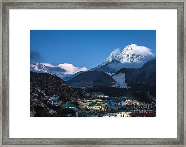 Twilight Over Pangboche In Nepal Framed Print