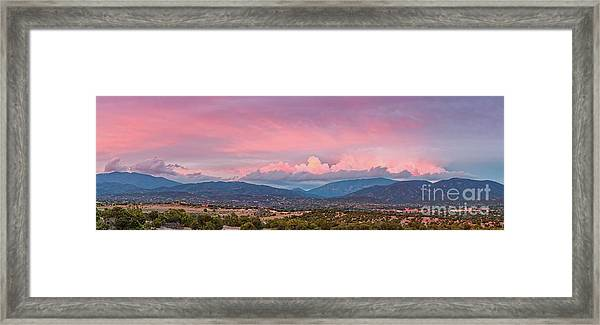 Twilight Panorama Of Sangre De Cristo Mountains And Santa Fe - New Mexico Land Of Enchantment Framed Print