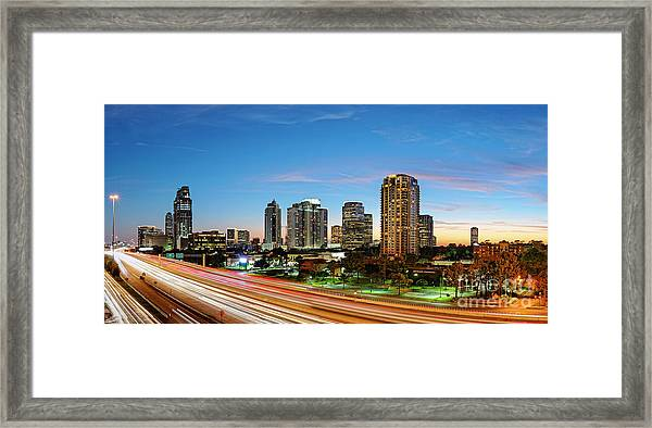 Twilight Panorama Of Uptown Houston Business District And Galleria Area Skyline Harris County Texas Framed Print