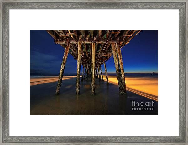 Twilight Under The Imperial Beach Pier San Diego California Framed Print