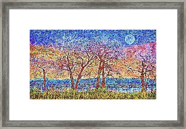 Twilight Winter Moon - Colorado Framed Print