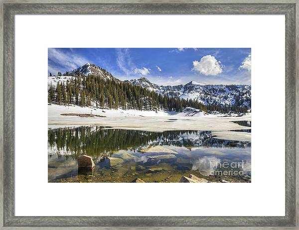 Twin Lakes Reservoir Melting Ice Framed Print