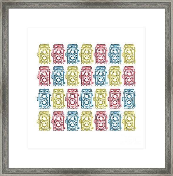 Twin Lens Camera Pattern Framed Print