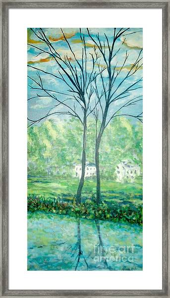 Twins By The Lake Framed Print