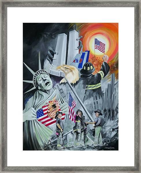 Twin Towers 911 New York Framed Print by Christiaan Bekker