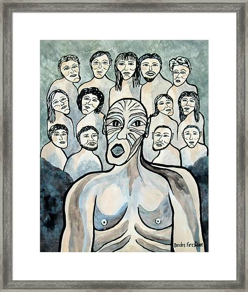 Twisted Faces Of The Torn And Demented Framed Print by Deidre Firestone