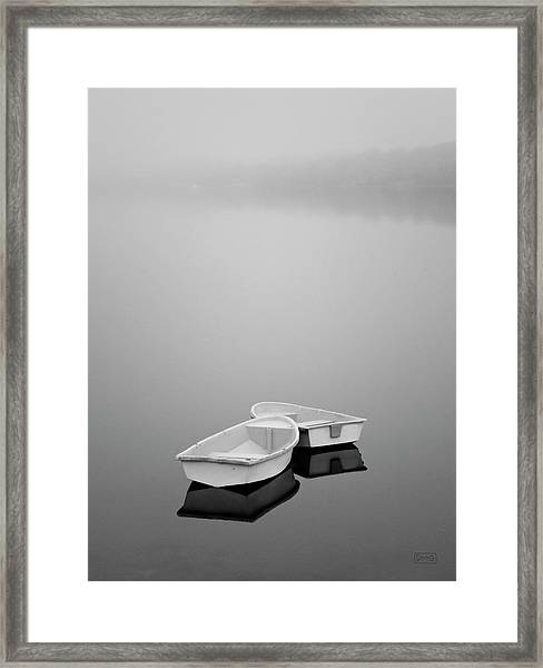 Two Boats And Fog Framed Print