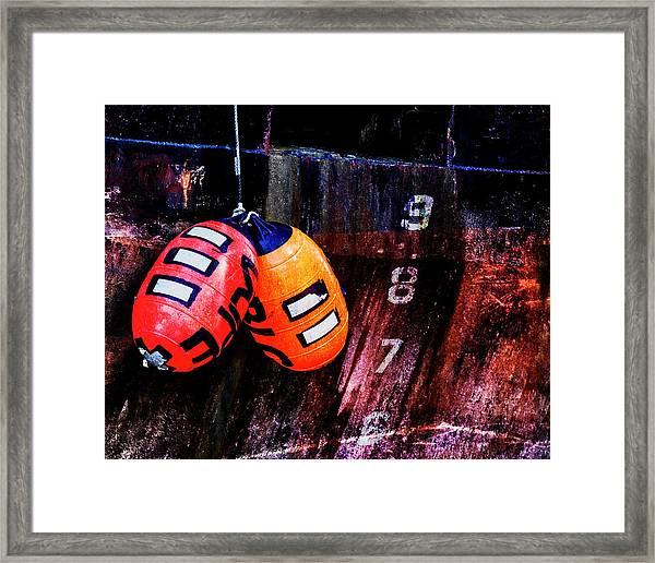 Two Buoys Left Of Depth Framed Print