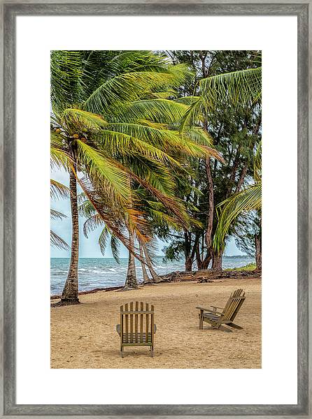 Two Chairs In Belize Framed Print