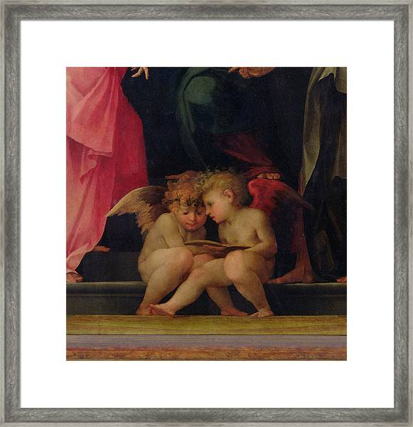 Two Cherubs Reading Detail From Madonna And Child With Saints Framed Print