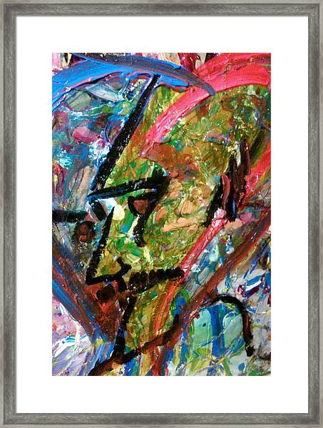 Framed Print featuring the painting Two Dimenssional Head by Ray Khalife