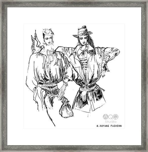 Two Fashion Girls Framed Print