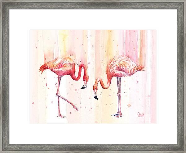 Two Flamingos Watercolor Framed Print
