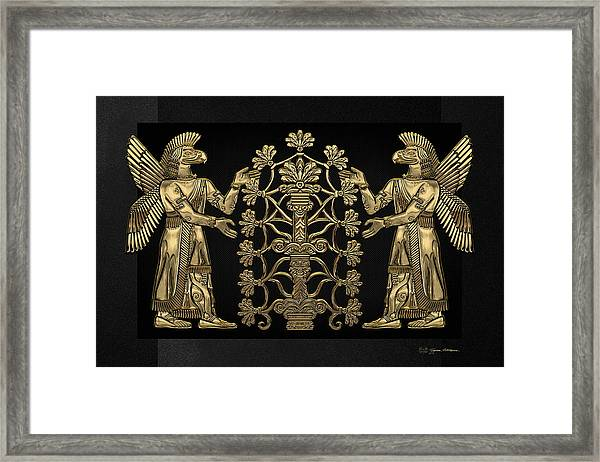 Two Instances Of Gold God Ninurta With Tree Of Life Over Black Canvas Framed Print