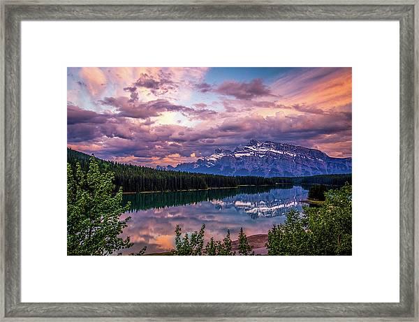 Two Jack Lake Sunset Framed Print