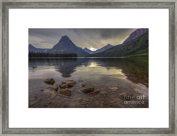 Two Medicine Lake And Sinopah Mountain Framed Print