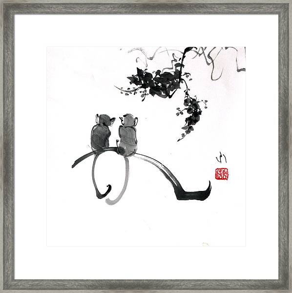 Two Monkeys Framed Print
