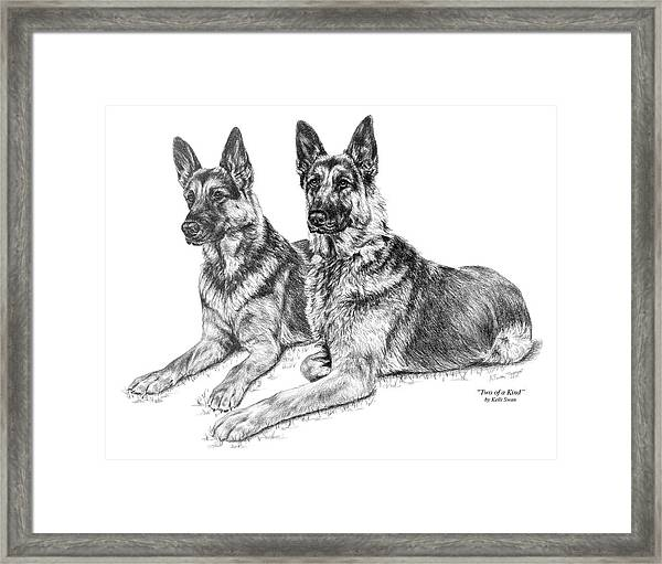 Two Of A Kind - German Shepherd Dogs Print Framed Print