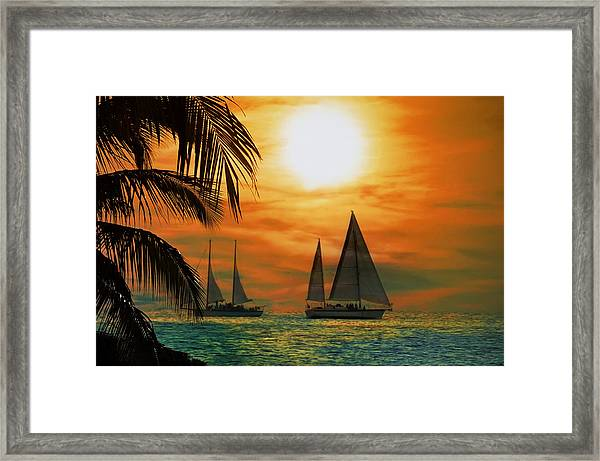 Two Ships Passing In The Night Framed Print