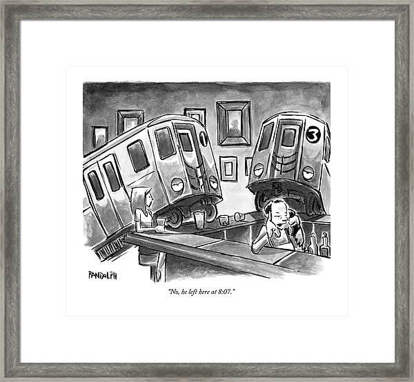 Two Subway Trains Sit Drunk At A Bar Framed Print