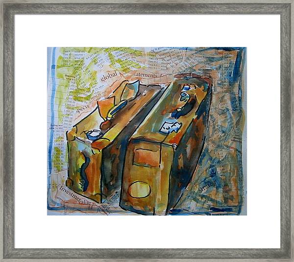 Two Suitcases With Financial Statements Framed Print