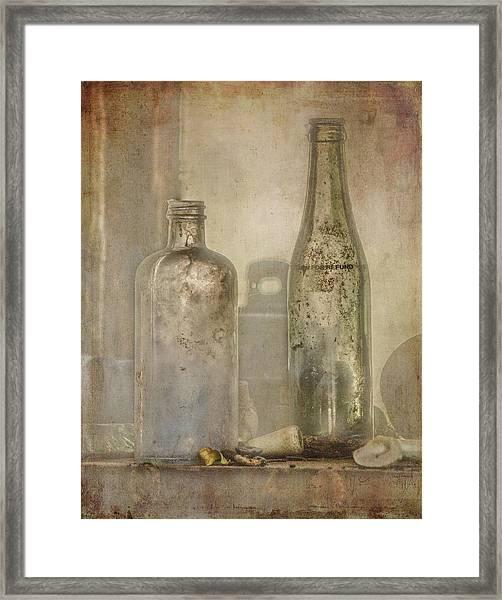 Two Vintage Bottles Framed Print