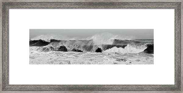 Two Waves Are Better Than One - Jersey Shore Framed Print