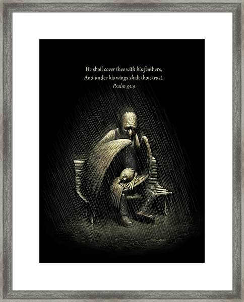 Two Wings And A Prayer - With Psalm 91 Framed Print