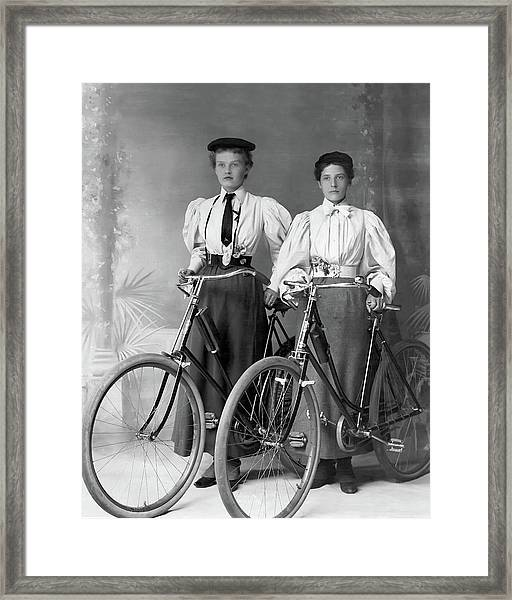 Two Young Ladies With Their Bicycles Circa 1895 Framed Print